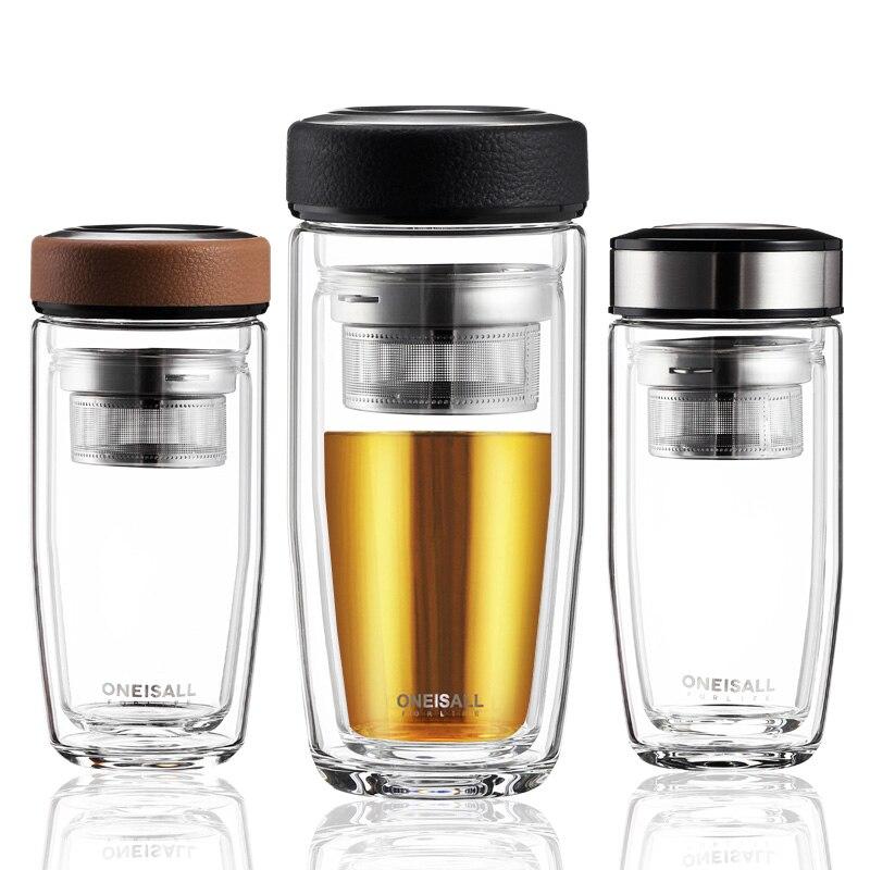 Hombres vidrio 380ml doble pared de aislamiento de vidrio botella tumbler para agua con filtro de té beber botella de vidrio transparente café taza