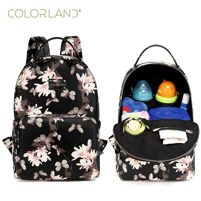 Mochila para pañales de bebé de cuero PU Colorland + almohadilla cambiante + bolsa húmeda