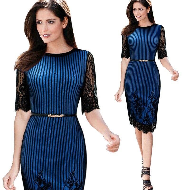 Traje-vestido azul Sexy de encaje en la manga vestido de lápiz de autocultivo