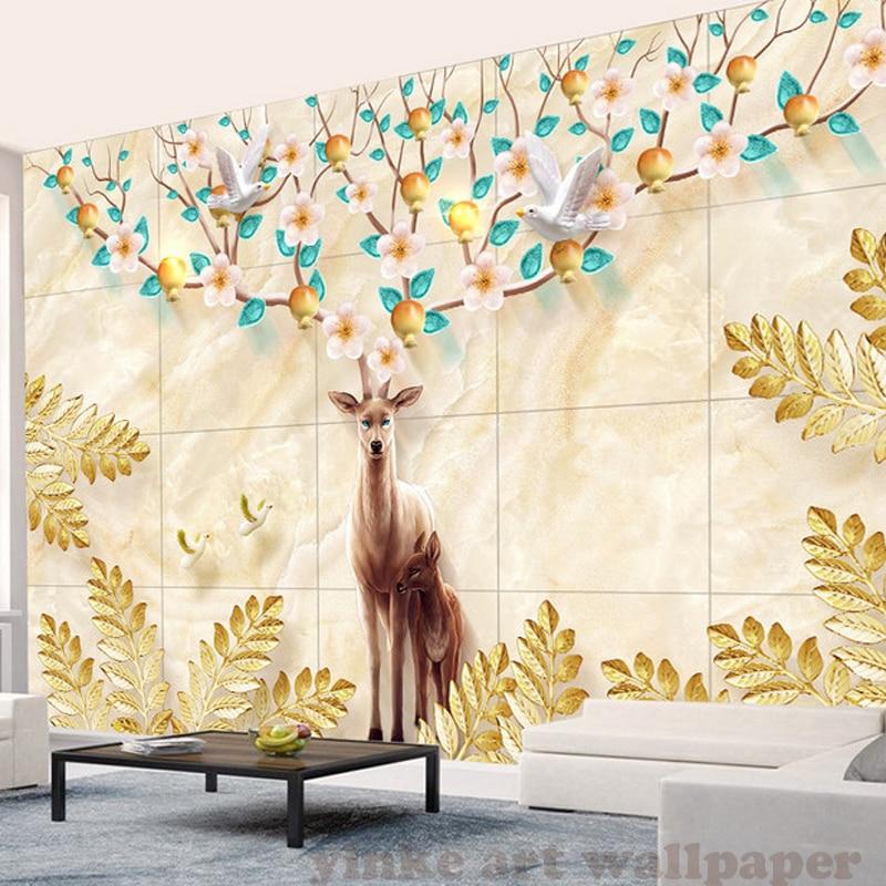 custom 3d wall murals wallpaper stereoscopic pachira macrocarpa deer wall paper for TV background   the sitting room wallpaper