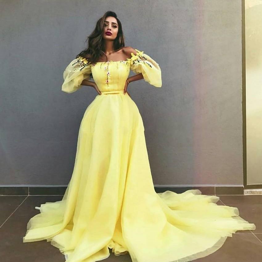 Nuevo vestido de noche amarillo claro con hombros descubiertos 2019 nuevo vestido de fiesta de tul árabe saudí con mangas hinchadas vestido de