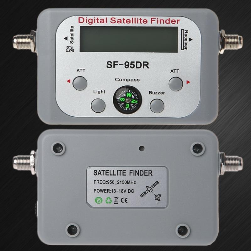 Novo cinza digital localizador de satélite medidor tv sinal localizador sat decodificador DVB-T2 lcd fta prato