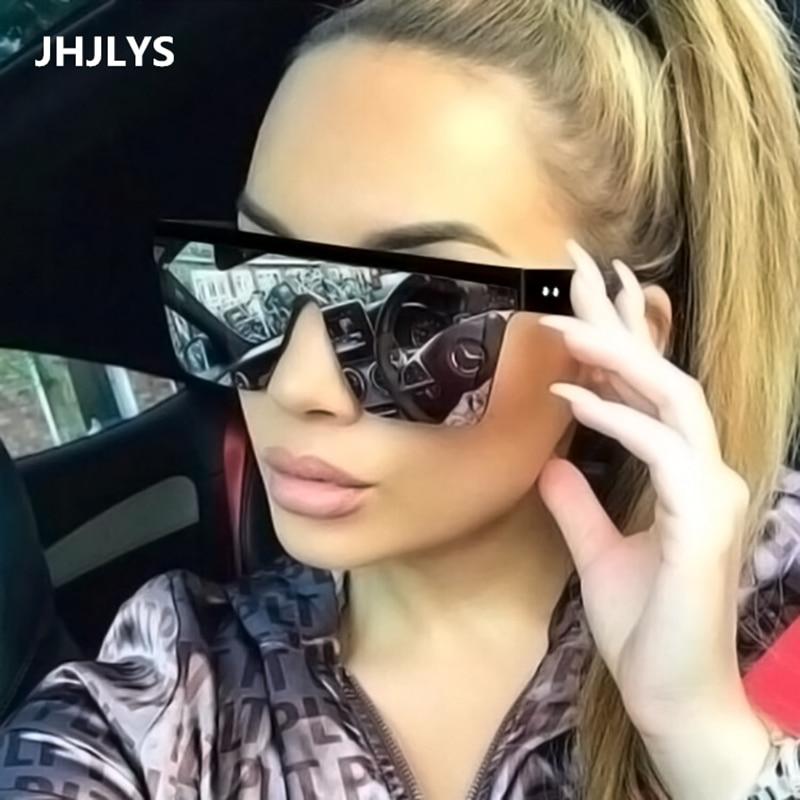 2019 new oversized sunglasses womens brand design flat top retro glasses female rivet one-piece lens oculos de sol feminino