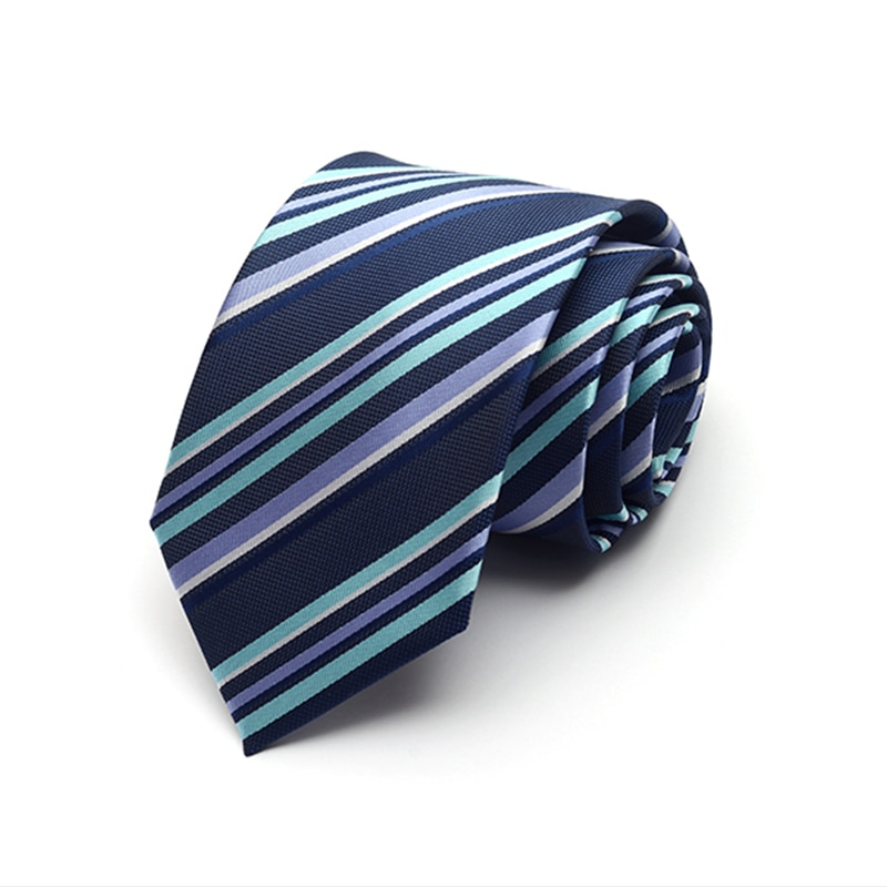 New Fashion High Quality 2019 Solid Color Striped 8cm Ties For Men Wedding Business Party Groom Neckties Cravates with Gift Box