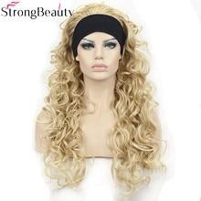 Strong beauty-perruque synthétique longue 26 pouces   Perruques bouclées Style naturel avec bandeaux pour femmes