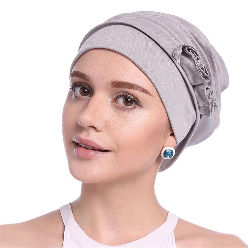 Haimeikang 2019 nuevo turbante diadema para mujeres niñas algodón flor pañuelo bandas elásticas para el pelo sombrero envoltura de la cabeza Bandanas Headwear