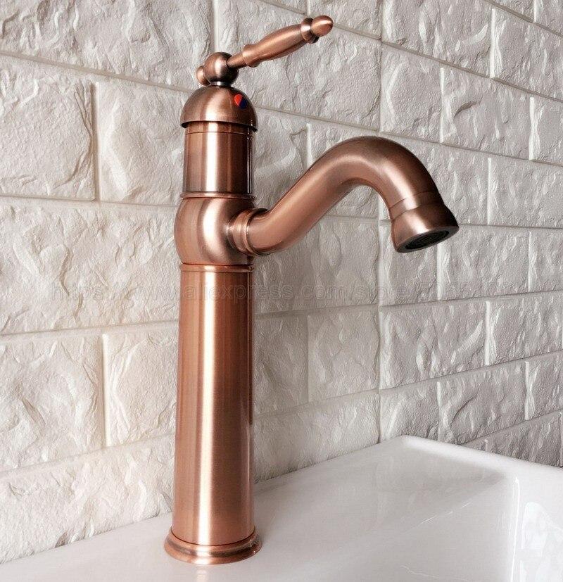 Grifo para lavabo de baño, grifo para lavabo giratorio antiguo de cobre rojo de 360 grados, grifo de agua de un solo Mango para agua fría y caliente znf388