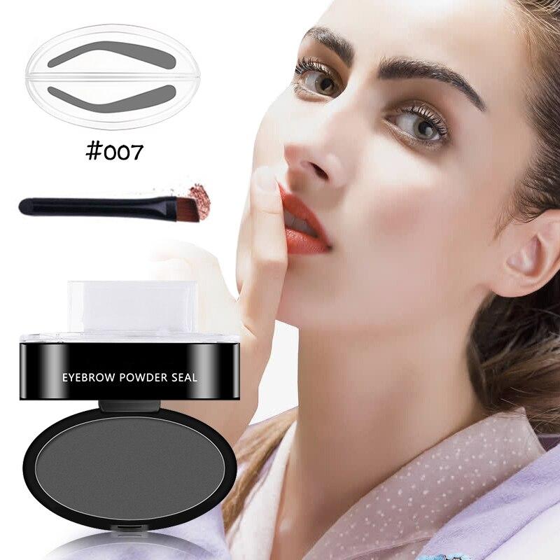 Хорошее качество, новейший профессиональный натуральный штамп для бровей, инструмент для макияжа, порошковый уплотнитель для бровей с кистью, быстрый макияж, 9 вариантов