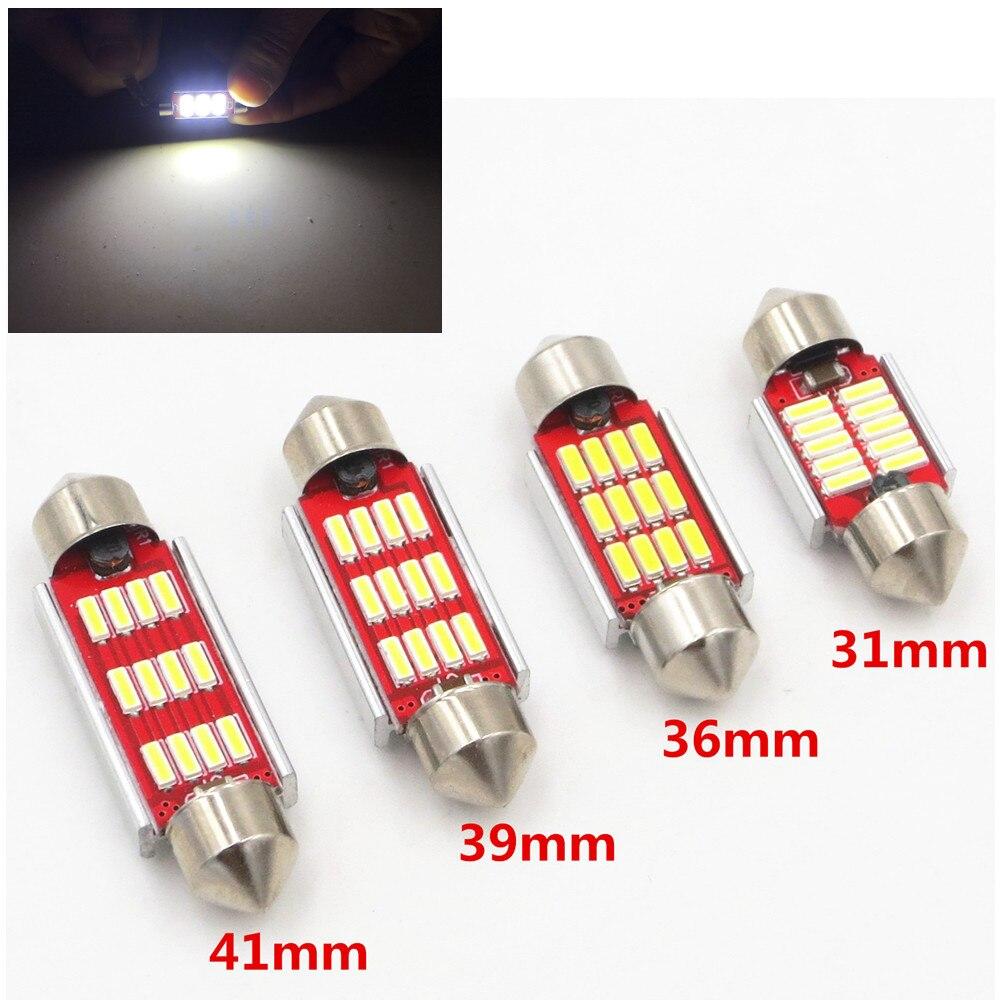 31mm 36mm 39mm 41mm C5W C10W CANBUS Error gratuito adorno para automóvil 4014 SMD LED Interior del coche de la bóveda de la lámpara bombilla de lectura de la luz blanca