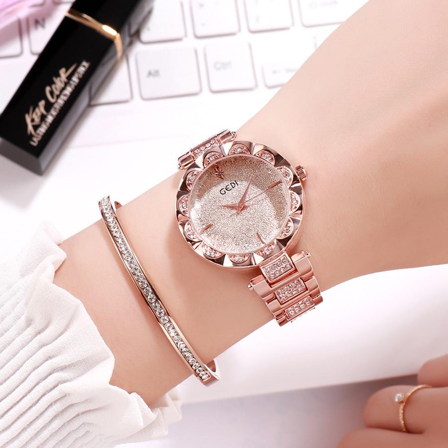 GEDI Fashion Rose Gold Bracelet Watches Women Top Luxury Brand Ladies Quartz Watch Famous Wrist Watch Relogio Feminino Hodinky
