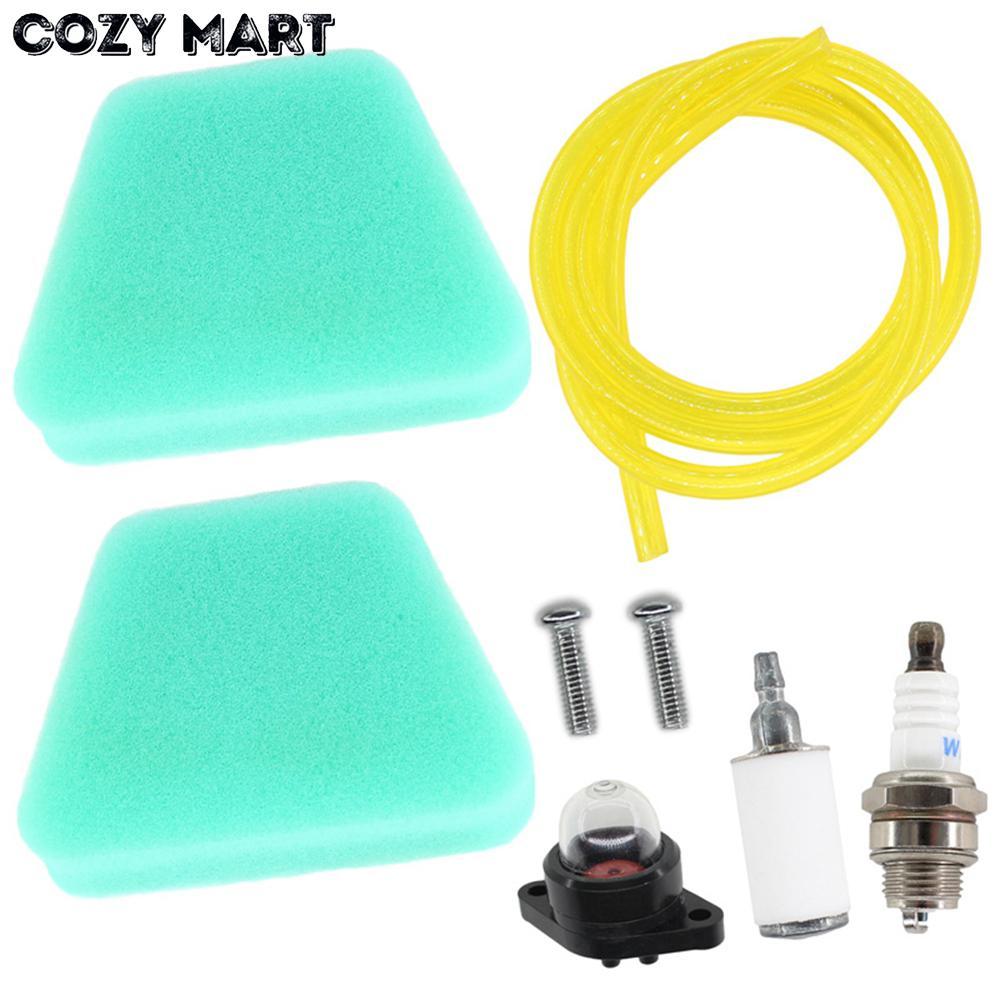 2x Air Filter For Poulan 2055 2075 2150 2155 2175 2250 Partner 350 351 370 371 390 Chainsaw w/ Fuel Line Primer Bulb Spark Plug