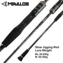 Mavllos 1.95 m ML/M Lente Jigging Canne À Pêche 2 Section LW. 25-250g/100-350g Ultra Léger Pêche en Eau Salée Casting Spinning Rod