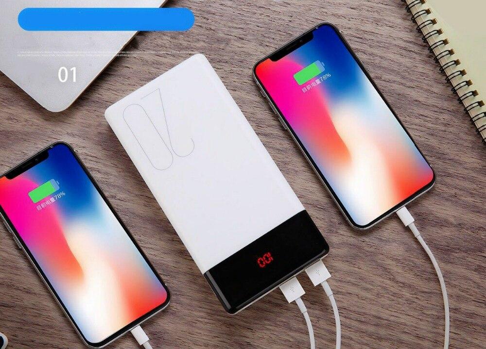 Nuevo cargador de batería de 20000mAh con pantalla LED para iPhone Huawei tipo C + Apple + Android