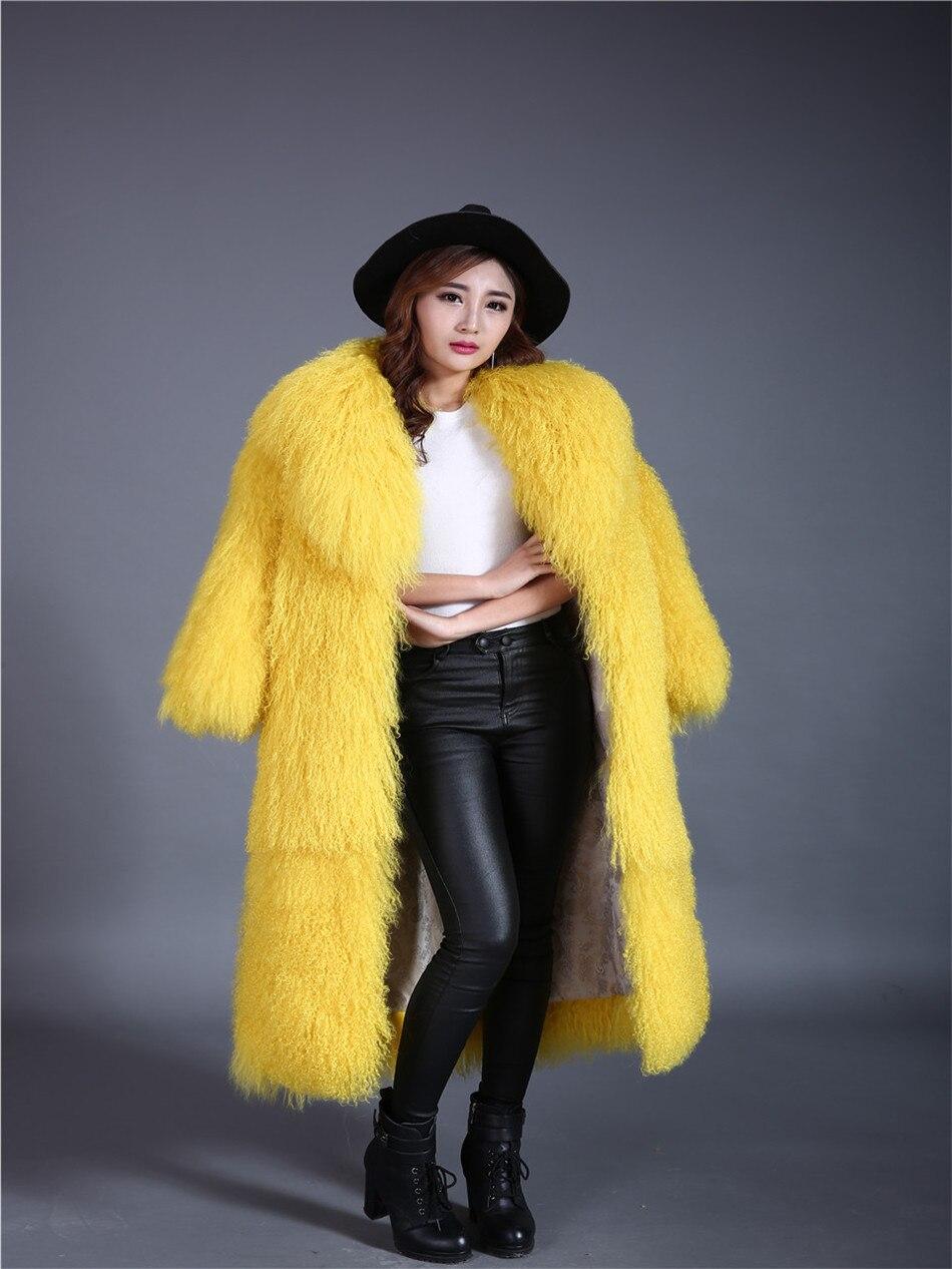 Abrigo de piel de oveja Mongol de longitud completa amarillo grande turn ropa de abrigo larga abrigos de piel largos mujeres 2017 parka negro verde