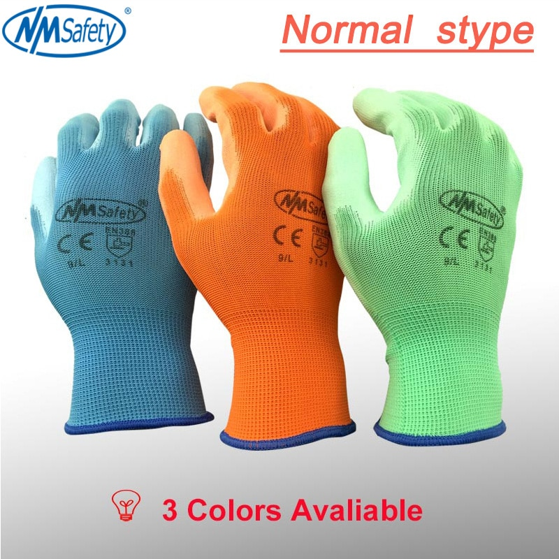 NMSafety 12 Pairs PU Work Gloves Palm Coated working gloves,Workplace Safety Supplies,Safety Gloves guantes trabajo