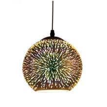 Creative personality LED color 3D glass Pendant Lamp Nordic postmodern minimalist E27 Pendant Light for Restaurant Coffee Bar