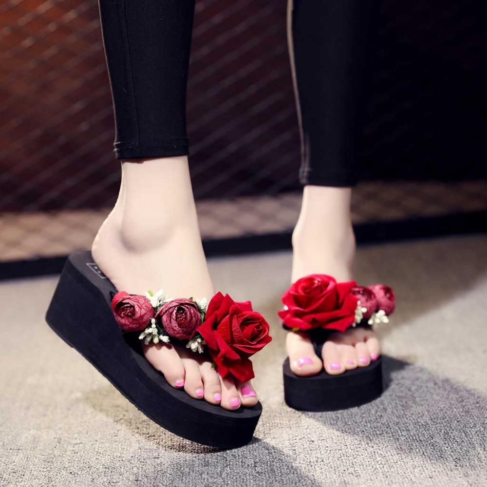 Chaussures femme  Hand-made Floral Wedges Flip Flops Sandals women Slippers Beach Shoes buty damskie kapcie X0116