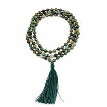 Annodati a mano Trattato Termicamente in pietra Naturale 6mm 108 Beads Buddista di Preghiera Japa Mala per Medita Lunga Collana gioielli delle donne