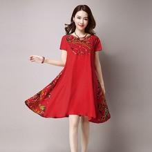 Mori Girl mini Dress Summer Women V-neck Print Loose dress Plus Size Short Sleeve Cotton Linen Dresses Female Literary Robes