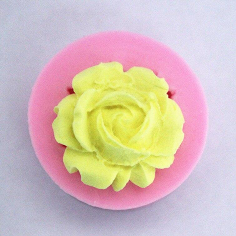 1 piezas forma rosa golosinas de Chocolate gelatina 3D de silicona molde herramientas para hornear pasteles jabón molde FM229