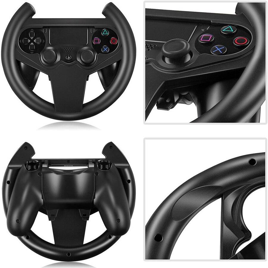 Soporte de volante para juegos KYVG PS4, mango de juego para volante de coche con 2 tapas para Sony Playstation 4 PS4
