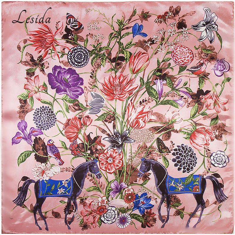 Joker Horse Floral Animal Print Silk Scarf Women Fashion New Poncho Foulard Red Bandana Big Size Square Neck Scarf 90*90CM 9210M