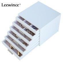 Leewince personnalisé en bois bijoux maquillage organisateur E0 E1 MDF boîte de rangement belle conception boîte bijoux pour affichage, Support OEM & ODM