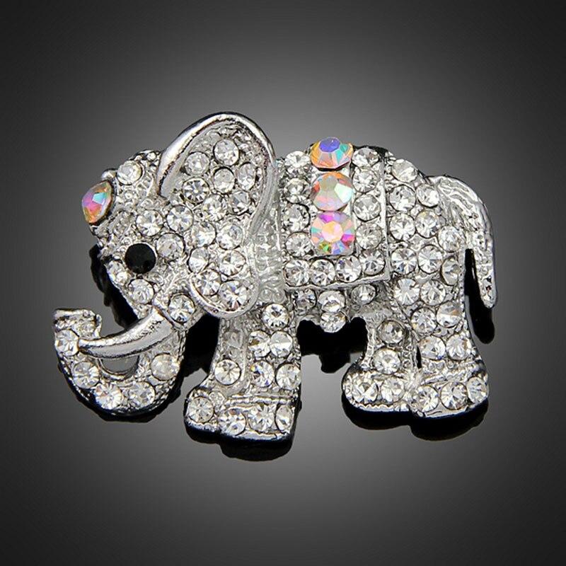 Модные женские украшения со слонами и кристаллами, брошки в виде животных