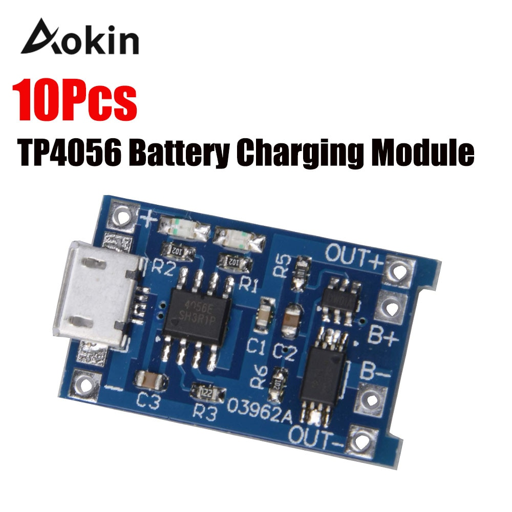 Фото - 10Pcs TP4056 5V 1A Micro USB 18650 Lithium Battery Charging Board Charger Module Protection Dual Functions for arduino Diy Kit 10pcs 5v 1a type c usb 18650 lithium battery charging board charger module protection dual functions tp4056 module charging