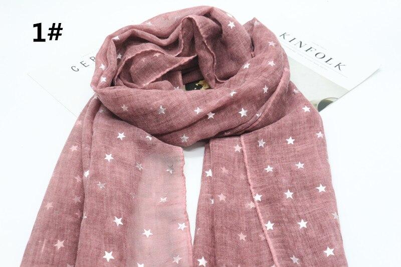 Gran oferta, bufanda de viscosa para mujer con estampado de estrellas de 8 colores sólidos, pashmina de algodón, bandana con geometría musulmana, echarpe, chal, silenciador, 10/lote