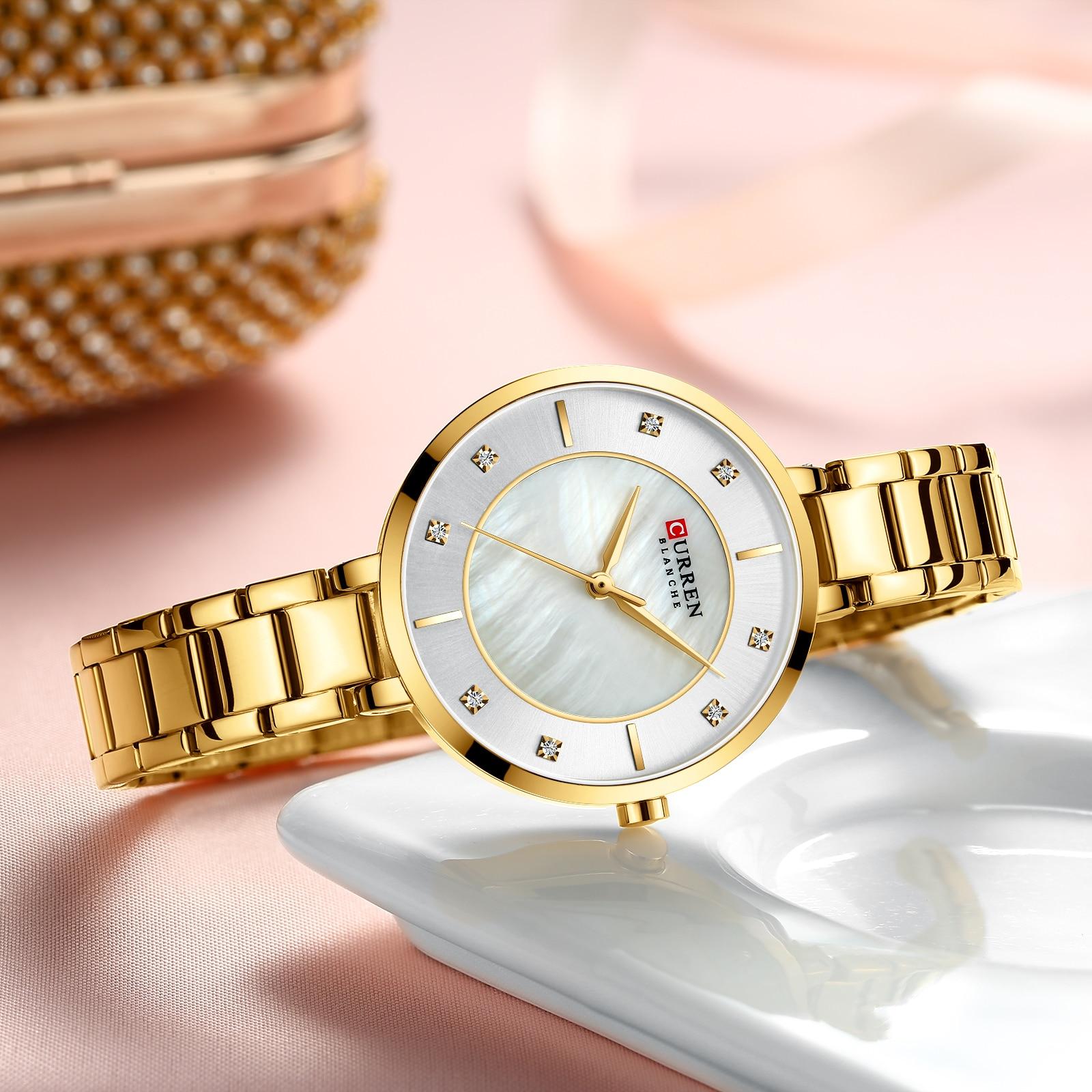 CURREN 2019 Womens Watches Golden Rhinestone Analog Round Quartz Watch Dress Bracelet Chain Waterproof Lady Wristwatch Dropship enlarge