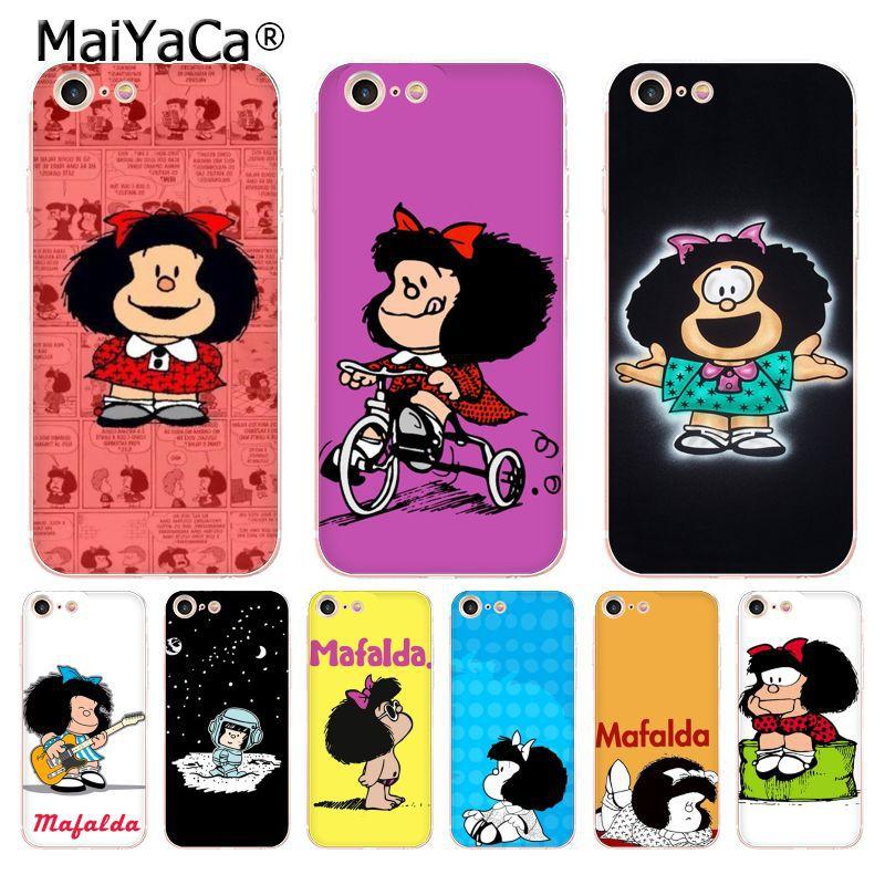 MaiYaCa Mafalda transparente cubierta de teléfono de TPU suave funda para iPhone 8 7 6 6S Plus X 5 5S SE 11pro max