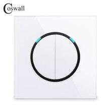 Coswall-panneau en verre   Interrupteur de lumière murale, 2 gangs, 2 voies, clic sur/Off, passe dans le mur, mis en commutation avec série R11