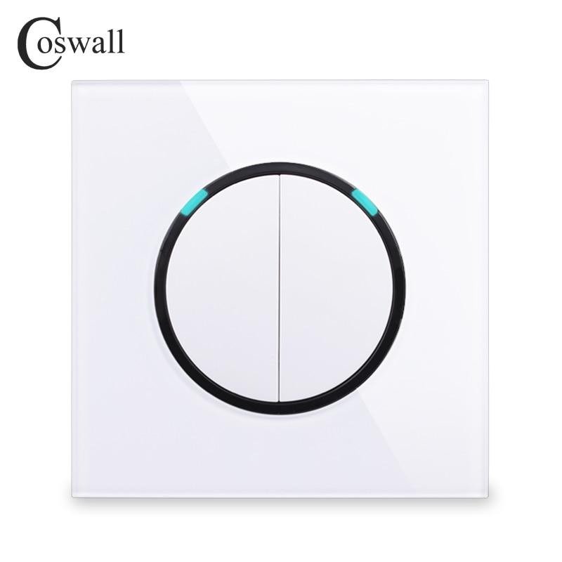 Panel de vidrio cosmall 2 Gang 2 vías, interruptor de luz de pared de paso de encendido/apagado aleatorio con indicador LED Serie R11