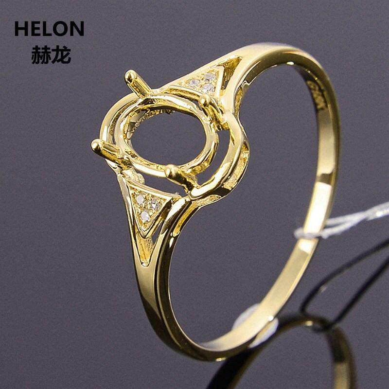 Anillo de compromiso sólido de oro amarillo de 14k con diamantes naturales de 5x7mm con corte ovalado Semi-montaje