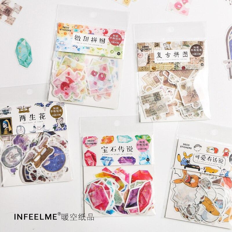 Serie de colores de 6 bolsas/lote, decoración creativa, bricolaje, pegatinas de papel...