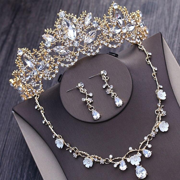 Barroco de luz de cristal de oro nupcial Juegos de joyas con diamante de imitación Tiaras corona declaración collar pendientes accesorios de vestido de novia