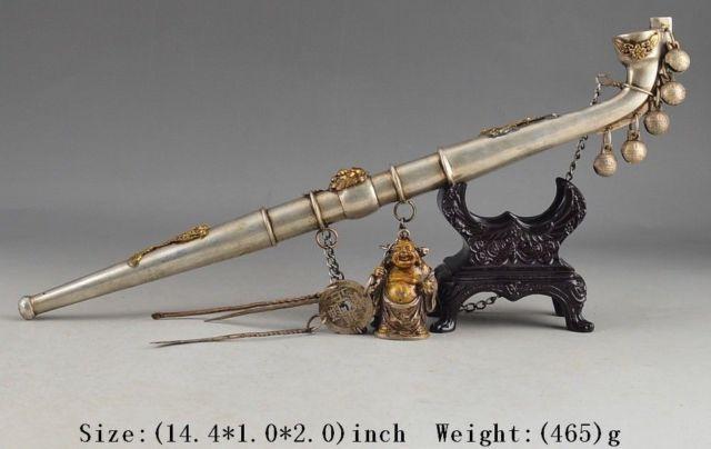 Viejo abuelo cobre latón artesanía antiguo Tíbet MIAO plata cobre vieja mano Buda chapado en oro DECO fumar tubo de BELL