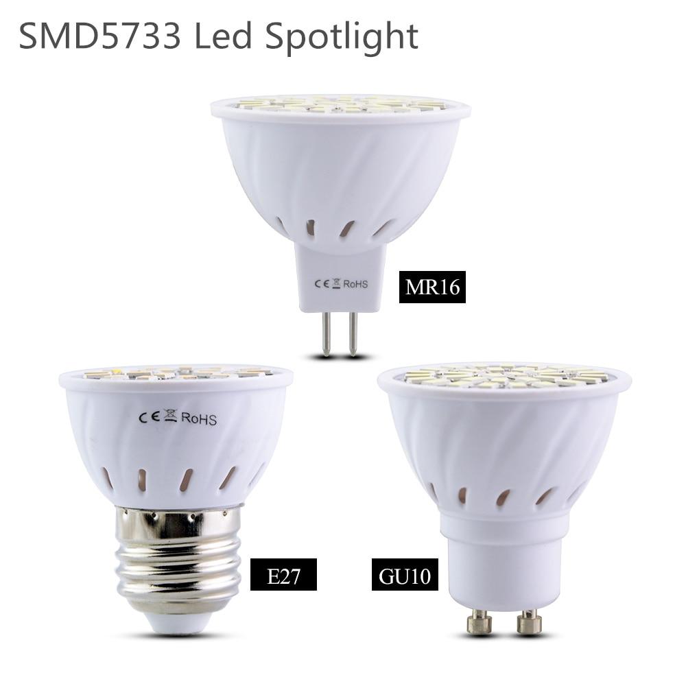 MR16 GU10 E27, bombilla Led, foco Led SMD 5733, ahorro de energía, 4 W, 6 W, 8 W, 110 V, 220 V, lámpara Led, lámpara Led, foco, luces para el hogar