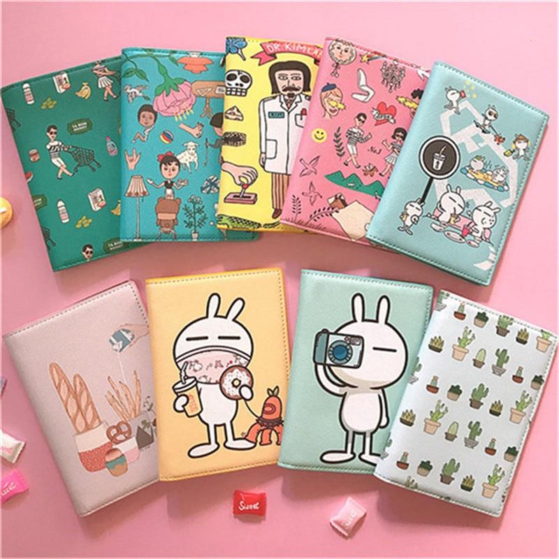 Pu oso conejito de dibujos animados de corazón estampado pasaporte de viaje Bolsa porta tarjetas ID billete de crédito tarjeta cubierta carpeta clip monedero bolsa