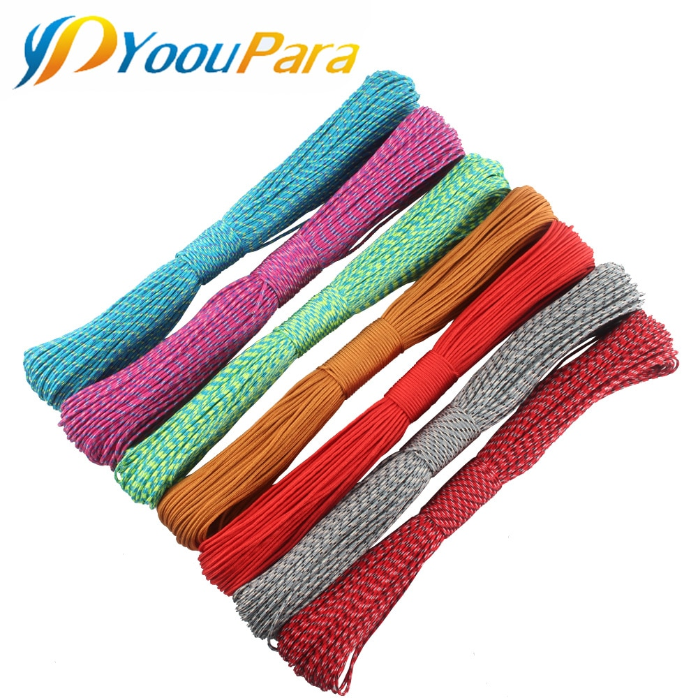 YoouPara 30Pcs 100FT Paracord 2mm One Stand Cords Paracorde Rope Cord Lanyard 100 Colors