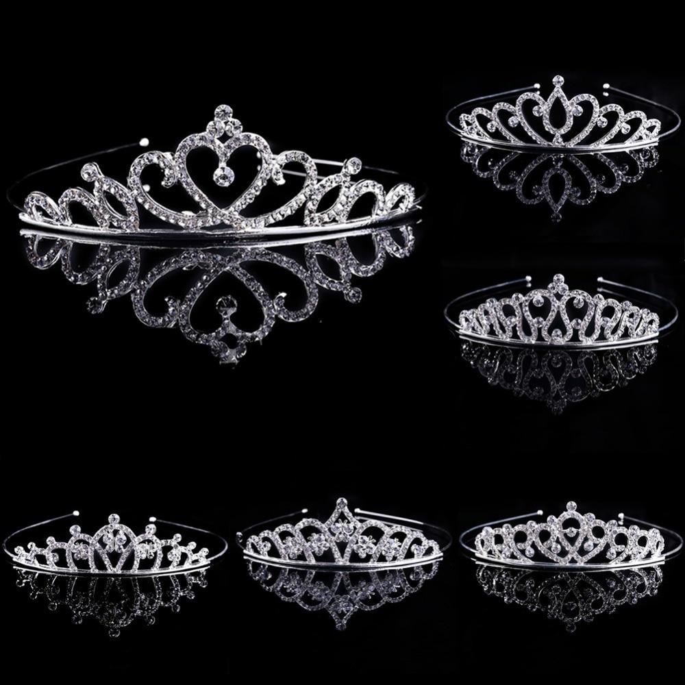 Novo 1 pc menina nupcial princesa casamento acessórios de cabelo cristal strass coroa bandana impressionante cristal tiara casamento coroa