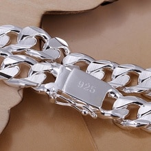 Новый высококачественный Женский Мужской цветной браслет из стерлингового серебра 925 пробы, модные ювелирные изделия, подарок для мужчин 10 мм, квадратный красивый драгоценный камень