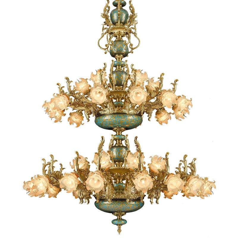 Lámpara de araña Led de cerámica para Hotel Star, lámpara Led Lampadario para sala de estar, lámparas de lujo de aleación de zinc estilo francés para villa o iglesia