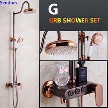 Senducs Orb ensemble de douche salle de bain   Robinet de douche de salle de bains en laiton de qualité avec douche supérieure en Abs ensemble de douche en or Rose