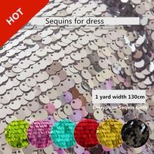Rubihome 1 야드 너비 130 cm 9mm 스팽글 패브릭 diy 바느질 테이블 커버 홈 웨딩 드레스 무대 장식 materail