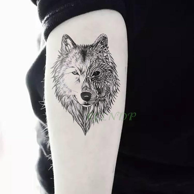 Tatuaje temporal a prueba de agua, tatuaje Animal, Lobo, león, águila, tatuaje instantáneo, mano, muñeca, pie, brazo, cuello, tatuajes falsos para hombres y mujeres