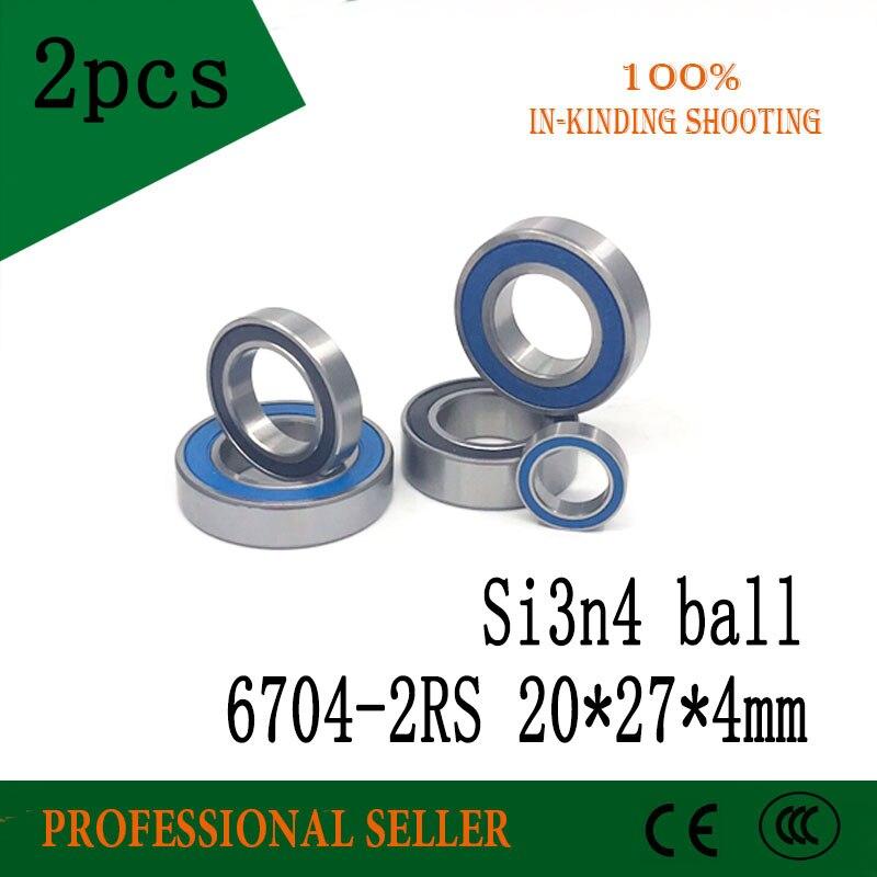 2 uds 6704-2RS rodamiento de cerámica híbrido 20*27*4 Mm 6704hc híbridos Si3n4 rodamientos de bolas 6704 2RS
