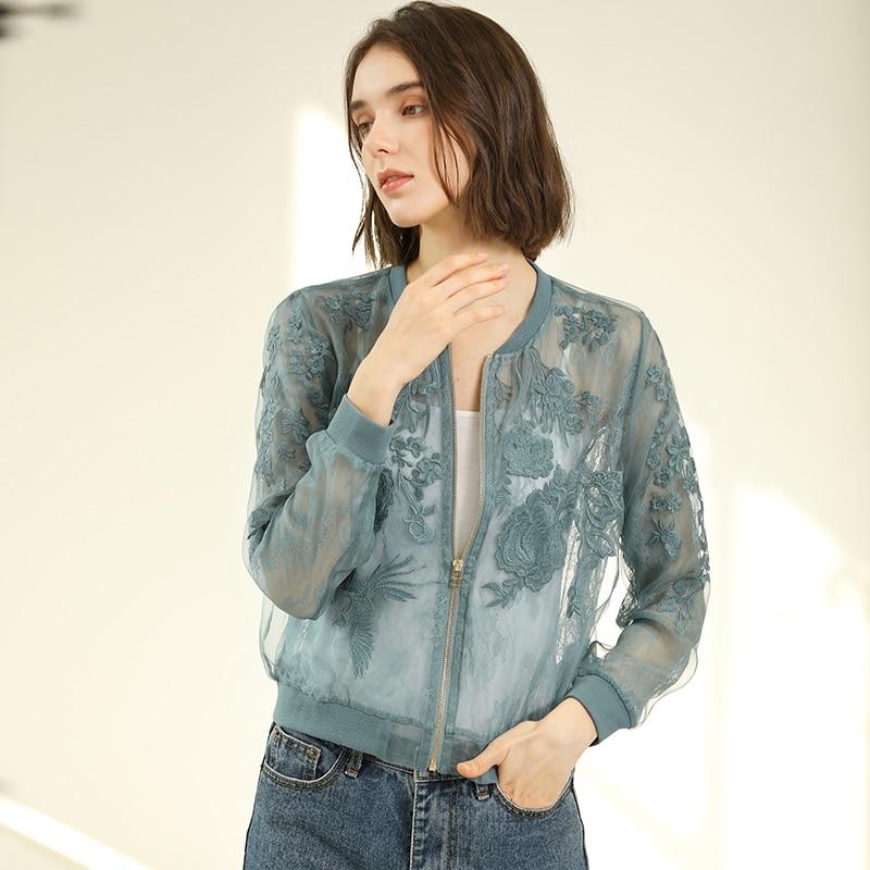 Chaqueta de Organza de seda 100% para mujer, protector solar, ropa bordada, tela ligera, manga larga, abrigo corto de 3 colores, moda 2019