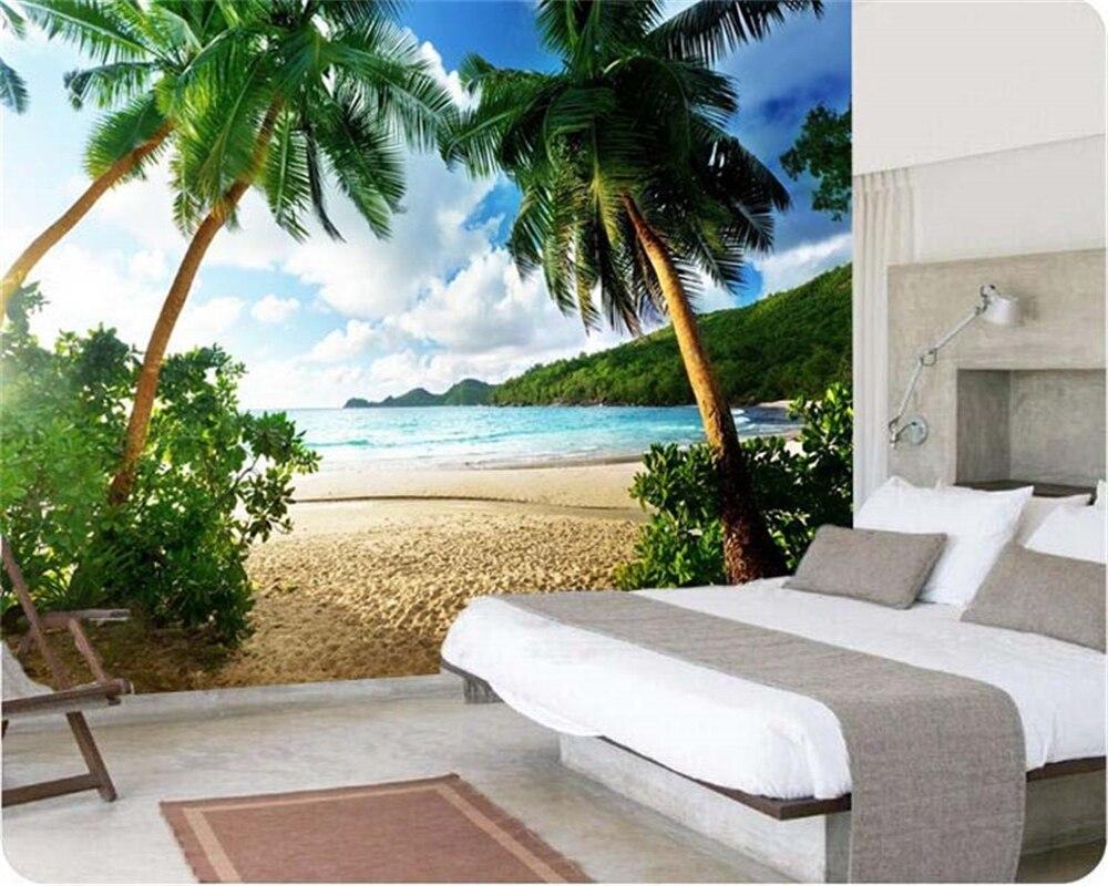 Papel pintado Beibehang de alta calidad 3d papel pintado mar palma playa isla viaje TV sofá Fondo dormitorio pared grande mural